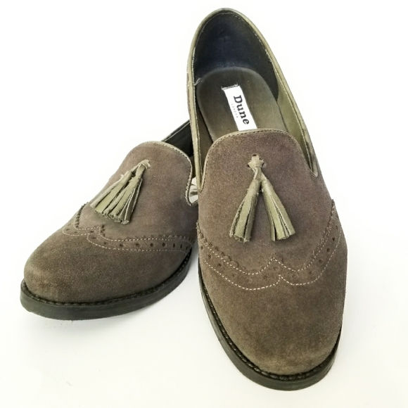 Dune London Brogues With Tassel Green